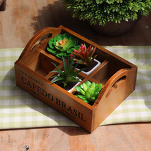 Wooden Storage Box Remote Control Holder Office Organizer Wood Box Meaty Succulent Plant Tray Furnishing Articles