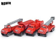 MOWIN 1:64 Mini Alloy Car Suit Fire Truck Metal Vehicle Figures Model Aerial Ladder Militany Tank Auto Model Boys Toy Collection