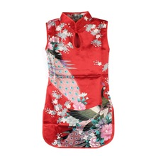 2016 New Summer Chinese Qipao Child Girls Baby Peacock Cheongsam Floral Pattern Dress 2-8Y Clothes