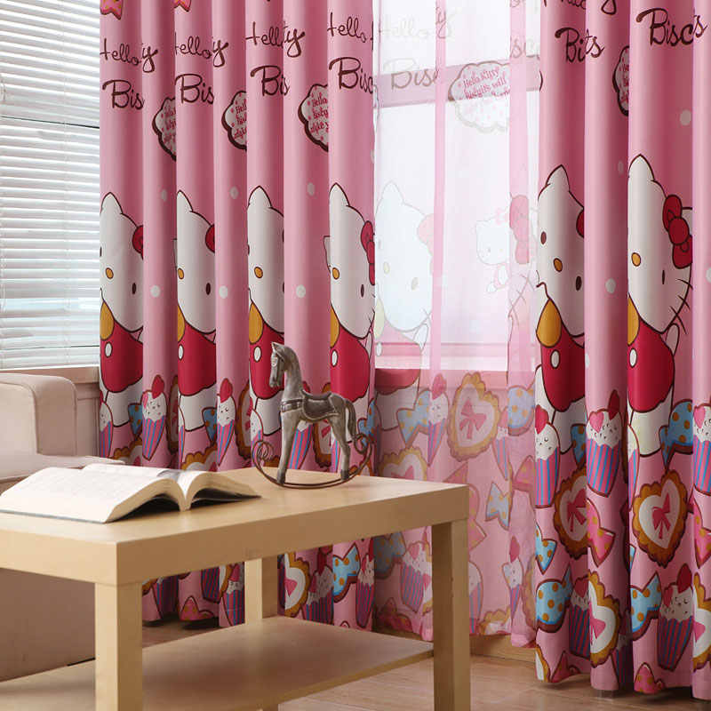 Curtains Kids Pink Printing hellow kitty cat Curtains For Girls Window Cartoon for Girl Room Blackout Curtina