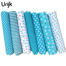 Urijk 7PCs Cotton Fabric Cloth Handmade Sewing Material Fabrics For Patchwork Curtains Blue Patchwork Accessories DIY 25x25cm(China)