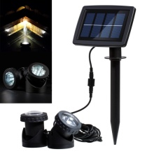 Hot Sale Solar Powered Light 2 Lamps 12 LED Waterproof Landscape Spotlight for Garden / Pool / Pond / Lawn