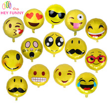 HEY FUNNY 10 pcs /set 18 inch foil emoji balloon hot bubble balloons party decoration Smile Balloon for children gift