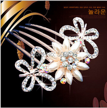 one piece popular fashion women's metal imitated peral beads hair combs fashion hair jewelry xyh101