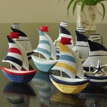 1Pc Kawaii 3D Top Quality Little Iron Sheet Sailboat Model Metal Nautical Decoration Marine Ornament Color Randomly 13*10.5*3cm
