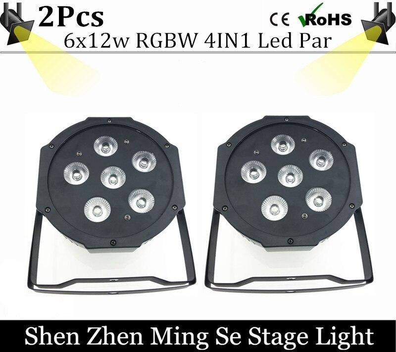 2units 6pcs 12w lamp beads 6x12W led Par lights RGBW 4in1 flat par led dmx512 disco lights professional stage dj equipment<br>