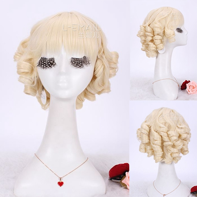 Free Shipping 30cm Lolita Hairstyle Cosplay Wig Synthetic Hair Curly Short Blonde Wig<br><br>Aliexpress