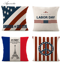 Aqumotic White Square Pillow Covers and Insert Blue Red Star Flag Decorative Pillow Square Set 45cm Soft Throw Pillowcase