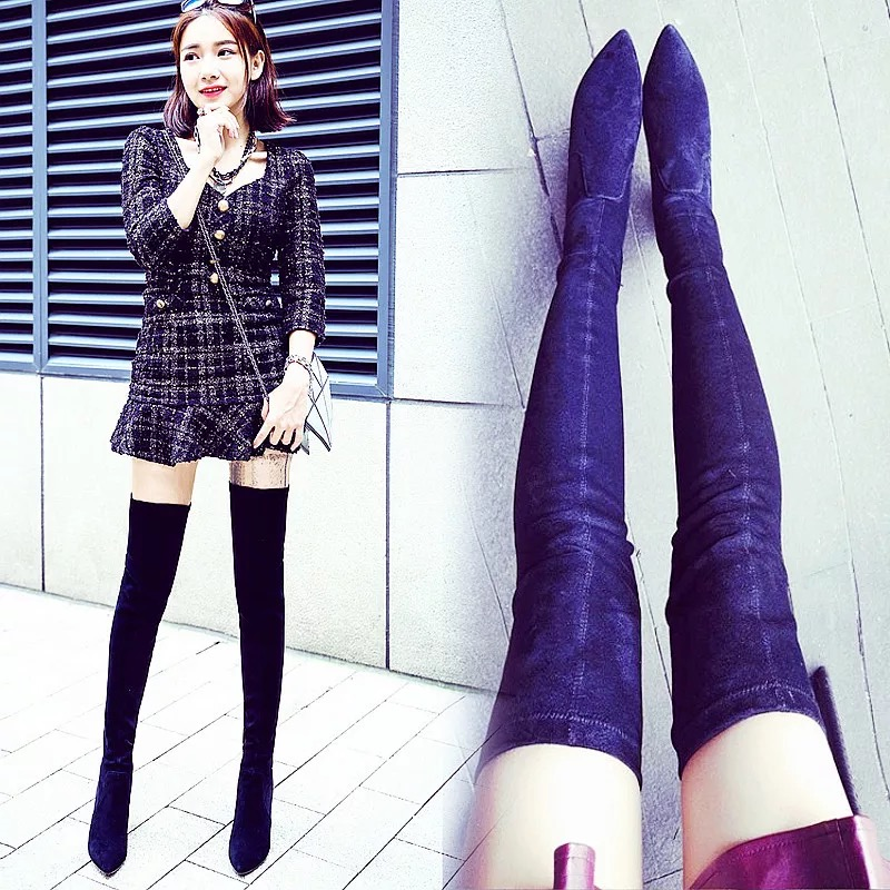 Autumn Winter sexy boots over knee high heel 2017 European PU/Flock 2 Style Pointed toe Women Boots Zip Elasticity Boots Black<br><br>Aliexpress