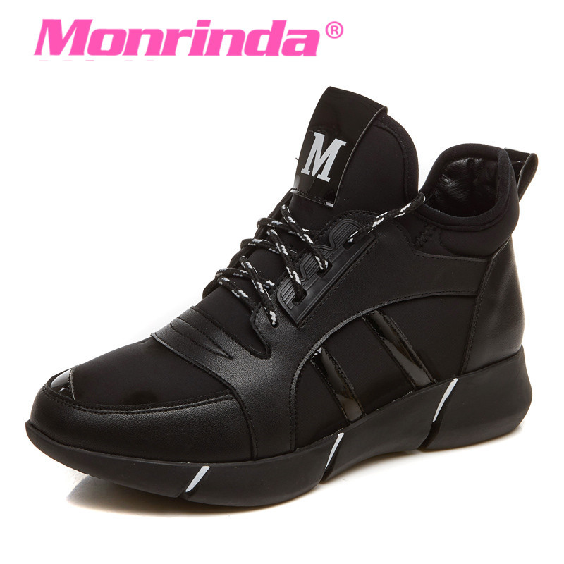 Height Increasing 4cm Running Shoes For Women Pu Sneakers Outdoor Jogging Sport Shoes Leather Woman Zapatillas Deporte Mujer <br>