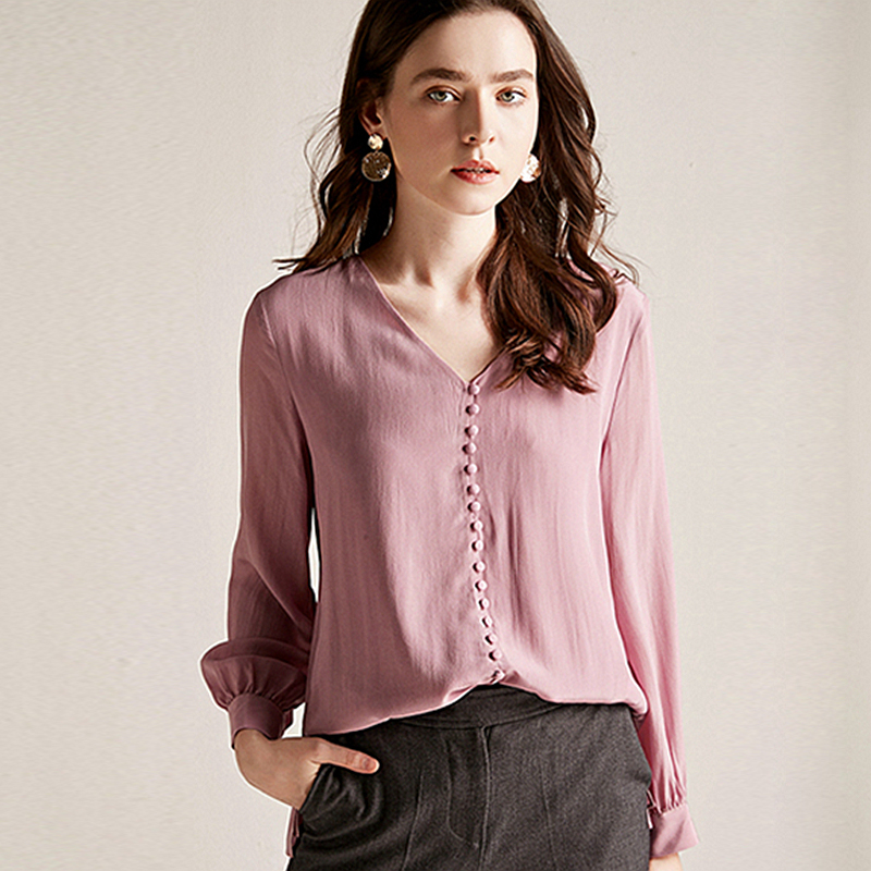 Blouse Women Shirt  Double layer 100% Silk Simple Design V Neck Long Sleeve Solid 2 Colors Office Top New Fashion Spring 2019