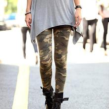 2017 New Summer Fashion Womens Graffiti Style Slim Camouflage Stretch Trousers Army Tights Pants Knitted Long Pencil Pants