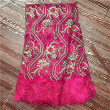 Special offer 5 high quality african tulle lace fabric Wholesale French net fabric embroidery lace motif for dress(China)