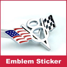 Checkered V8 USA American Flag SVT Car Stickers Badge Emblem Fender Tailgate For Mustang 357