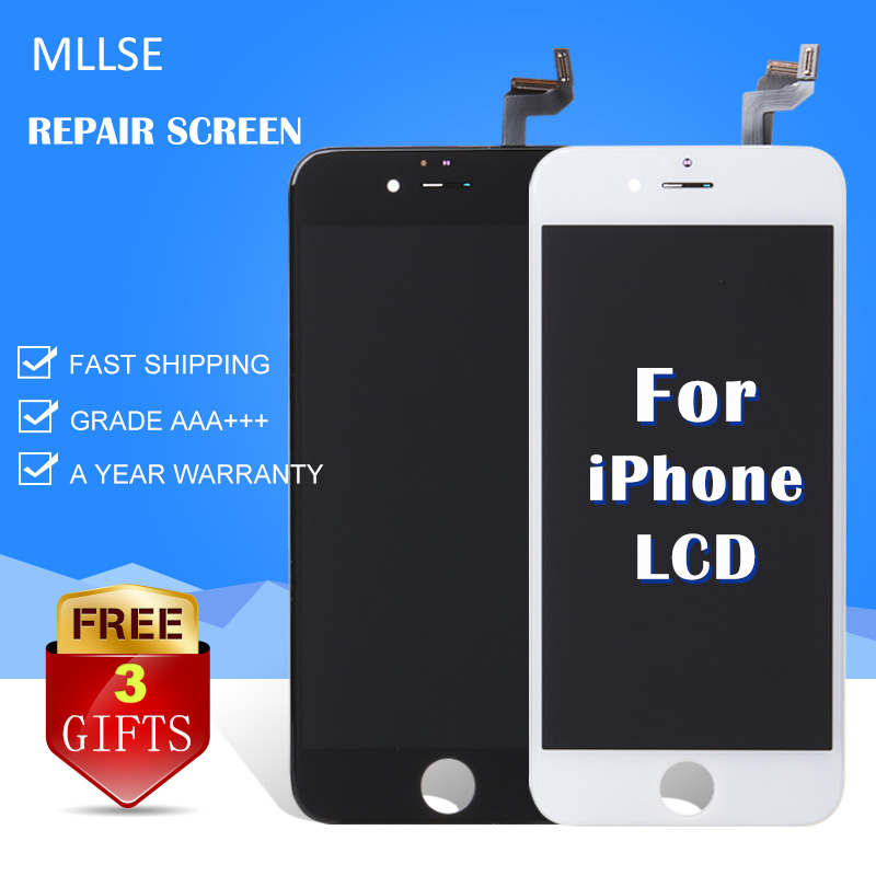 MLLSE For iPhone 6S Plus 6G 5S 5G 5C Ecran LCD Display Pantalla Touch Screen Digitizer Assembly Replacement AAA White & Black(China (Mainland))