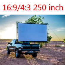 New 250Inches 4:3 16:9 Wall Mounted canvas Curtain Front Projection Film Projector Screen For Mini LED Projector Supplies