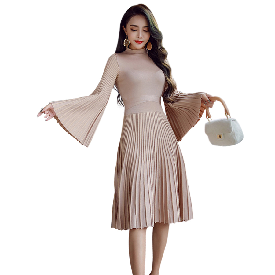 2018 New Fashion Winter Spring Dress Women Flare Sleeve Turtleneck Solid Color Casual Knitted Sexy OL Dress Vestido De FestaÎäåæäà è àêñåññóàðû<br><br>