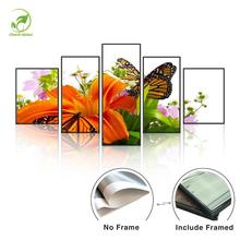 Modern 5pcs Landscape Pictures Melamine Sponge Board Canvas Oil Painting Dielianhua Flowers&Butterfly Wall Art Picture Art Paint