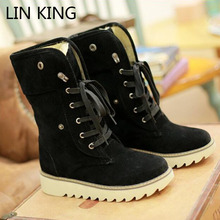 LIN KING New Lace Up Women Autumn Winter Snow Boots Women Fashion Cotton Padded Warm Lady Shoes Casual Big Size Female Boots