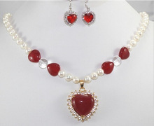 Nobility Woman natural Real 7-8mm White Cultured Pearl&red gem Necklace Earring Set    Free deliver