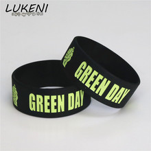 LUKENI Hot Sale 1PC GREEN DAY Silicone Bracelets & Bangles Black Silicone Wristband BRACELET for Music Fans Concert Gift SH070(China)