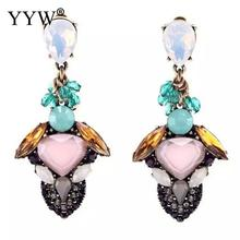 Long Oval Drop Earing for Women antique brass color Dangle Earring Pink CZ Zircon Crystal fashion Wedding Jewelry