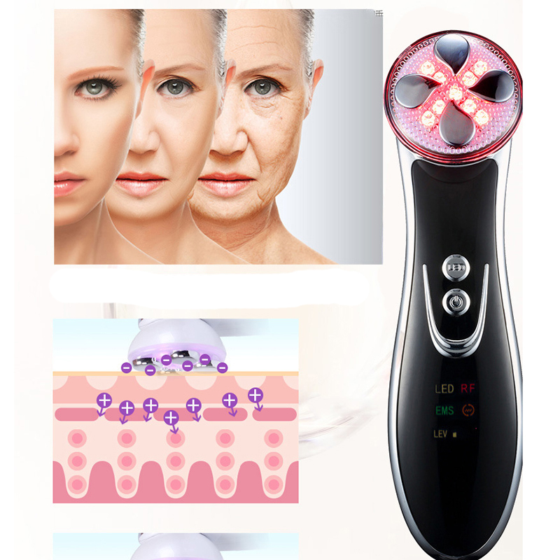 LED Photon Skin Care Cleansing Instrument Heat Maggie RF Radio Frequency Beauty Tool Anti-Age Wrinkle Removal Whitening Massager<br>