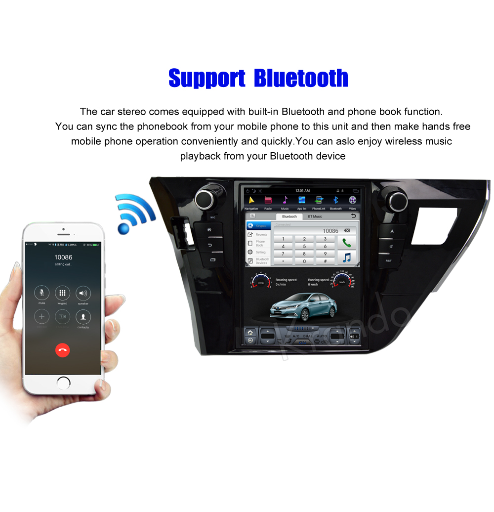 Krando Vertical screen android car radio multimedia for Toyota corolla 2013-2016 Big screen navigation with gps system (4)