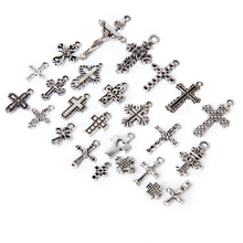 25pcs Alloy Religion Varies Cross shapes Silver Findings Pendant Beads(China)