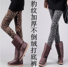 Women's winter leggings thicken velvet leopard print leggings women warm pants fashion pants