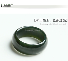 Wonderful woman Man's 100% Natural Real Green Ring Lucky Round HeTian Yu Rings 17-20mm Inner Diameter + certificate