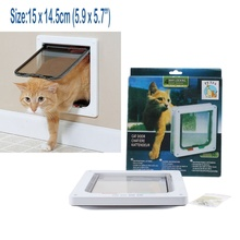 Cute Pet Cat Small Dog Flap Door Frame 4 Way Locking Lockable Magnetic 2 Colors Hot