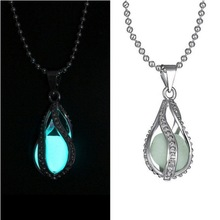 1PC Fashion Luminous Pendant Necklace Fluorescent Stone Spiral Water Drop Cage Glow In The Dark Stone For Women Night Light