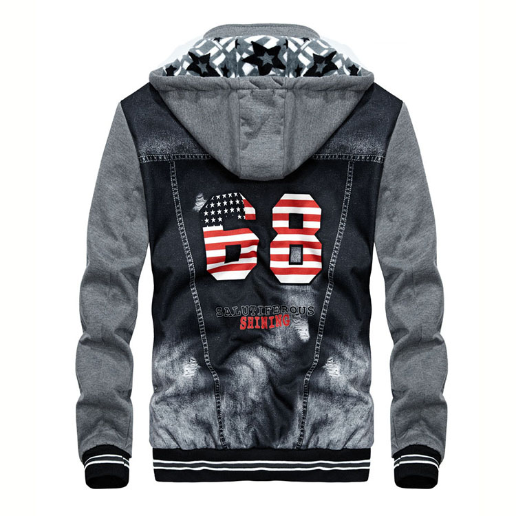Aolamegs Men Hoodies Warm Fleece Fashion Denim Patchwork Outwear Hip Hop Hooded Sweatshirts Jacket Hoody With Headphone cable (3)