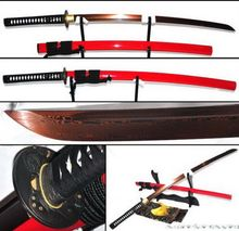Red&Black Foldedsteel Full Tang Sharp Blade Warrior tusba Red Katana Sword #511(China)