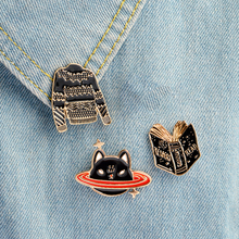 Cartoon Animal Brooch set Black Book Sweater Planet cat Pins button Collar pin Anime badges Enamel costume jewelry