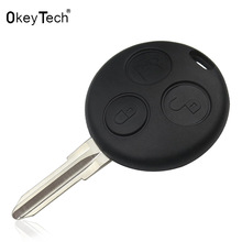 OkeyTech Logo auto Key Mercedes Benz Smart w124 w202 w210 w203 Fortwo Shell 3 Button Uncut Blade Remote Car Key Cover