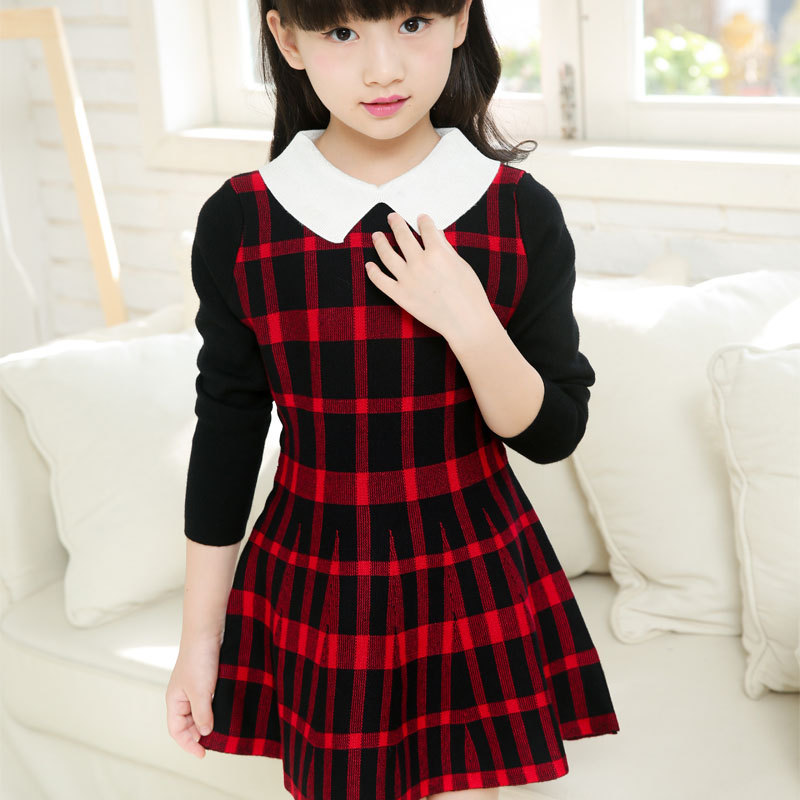 Fashion Brand Knitted Cotton Girls Dress Red Plaid England Style Toddler Dresses Elastic Baby Girls Long Sleeve Dress Clothes<br><br>Aliexpress