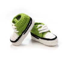 Multicolor Knitted Baby Crib Shoes Handmade Infant Crochet Booties Lace-up Newborn Shoes 10cm