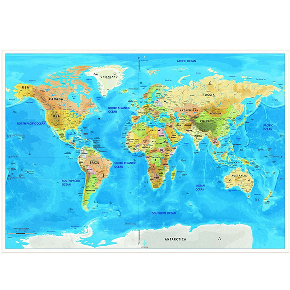 Wall Stickers Map World Scratch off Personalized Travel for Room Home Decoration