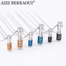 AZIZ BEKKAOUI 316L Stainless Steel Perfume Bottle Lover Necklaces & Pendants for Women Men Perfume Container Pendant Necklaces