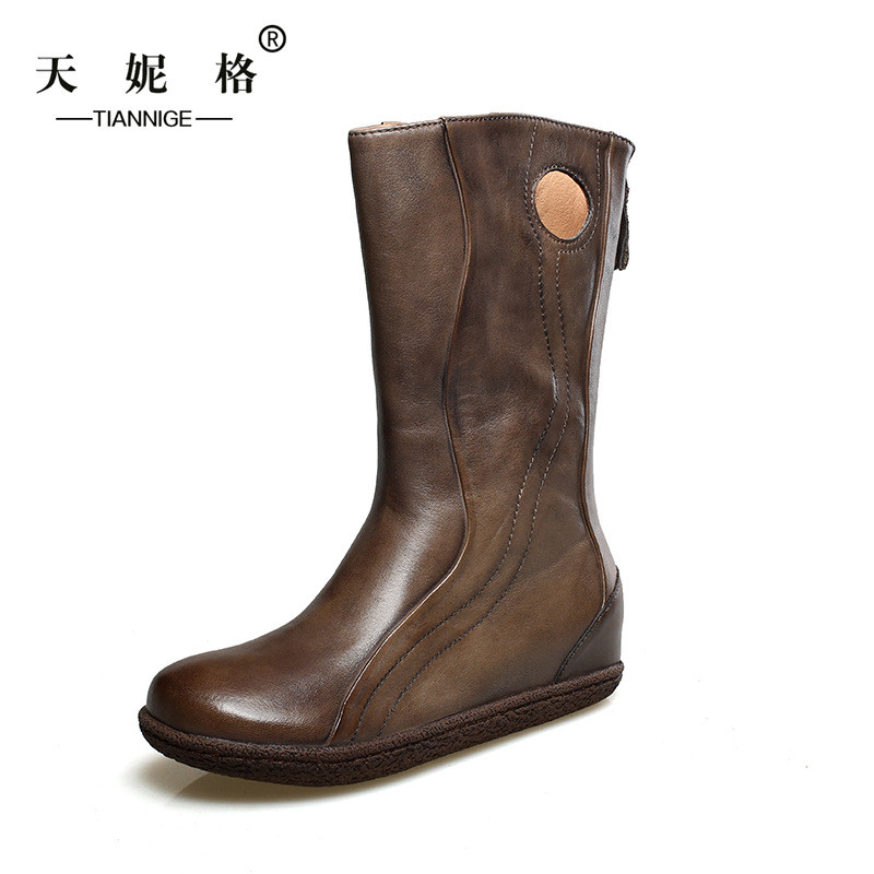 TIANNIGE autumn head layer cowhide mid calf boots woman Increased within boots shoes After the round head zipper Martin boots<br><br>Aliexpress