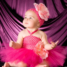 Sweet Luxury Hot Pink Peony Flower Crochet Tutu Dress Baby Handmade Tutu Dress with Headband for Wedding Party Photo TS087(China)
