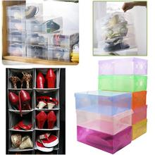 Transparent Shoe Storage Boxes Stackable Foldable Container Organizer(China)