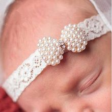 Foddsia 1pcs Girls Newborn Lace Pearl Mini Bow Headband Lace Diamond Hairband With Hair Bow Kids Boutique Hair Accessories A45