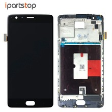iPartsTop Black White Display For OnePlus 3 Three A3000 A3003 LCD Screen Touch Digitizer With Front Frame Bezel Housing Assembly