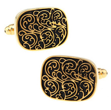 High quality French shirt cufflinks floral striped gold pattern totem cufflinks button(China)