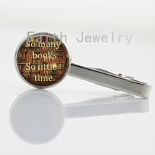 So many books so little time tie clips Love Reading Necktie Bar Clasp Clamp Pin librarian writer teacher book nerd gift NS112