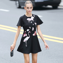 Mini Dress 2016 Summer Stunning European Short Zoo Sleeve Horse Appliques Above Knee Black New Arrival Topshop Dress