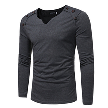 T-Shirt Men 2017 Spring Autumn New Long Sleeve V-Neck T Shirt Men Brand Clothing Slim Fashion Button Solid Cotton Tee Tops(China)